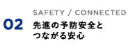02 SAFETY / CONNECTED 先進の予防安全とつながる安心